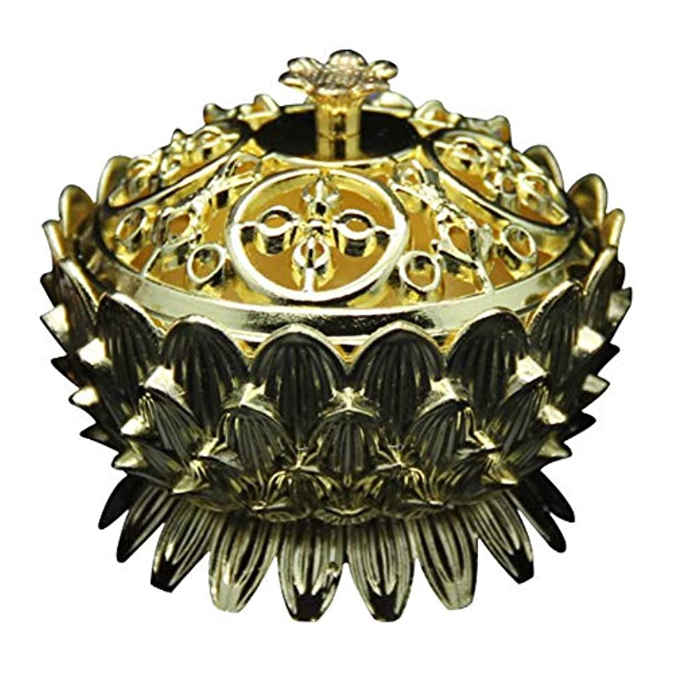踏み台いちゃつく貯水池Retro Zinc Copper Alloy Bronze Incense Burner Home Decor Mini Lotus Tibet Incense Burner Holder Fit for Stick...
