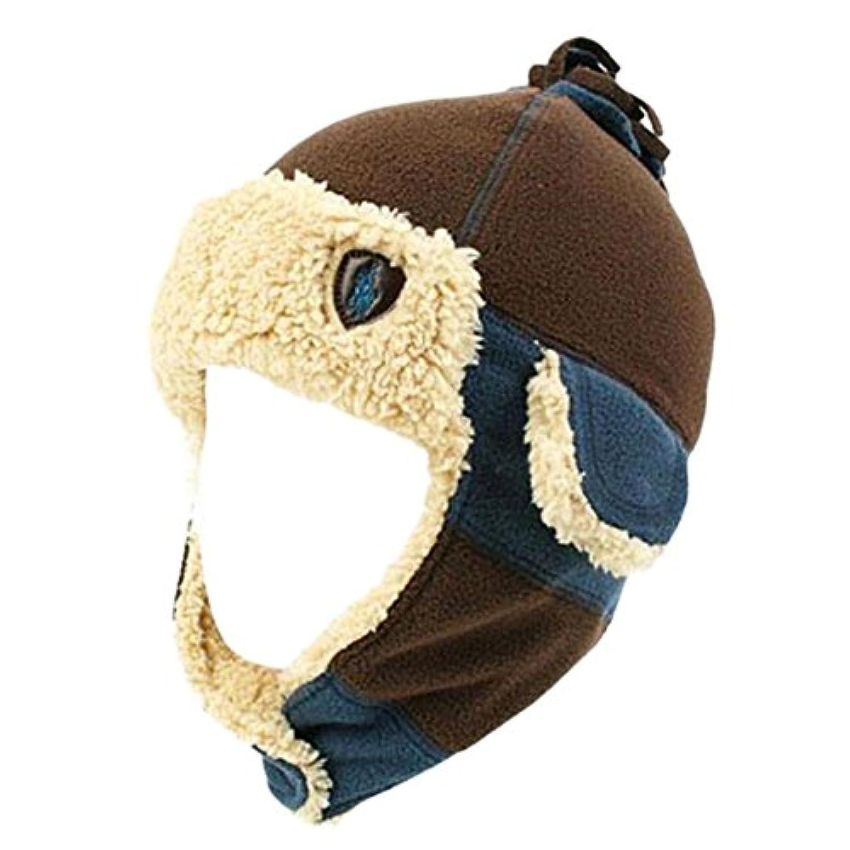 コーヒー - 冬のベビーキッズ暖かいイヤーマフ帽子スカーフぬいぐるみフライトベストギフトキャップ