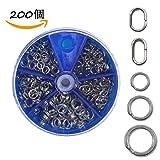 200 スプリットリング ハイパーワイヤー 高強度釣り分割リング 5サイズ 4mm/5mm/5.5mm/7mm/8mm テスト: 20lb-80lb