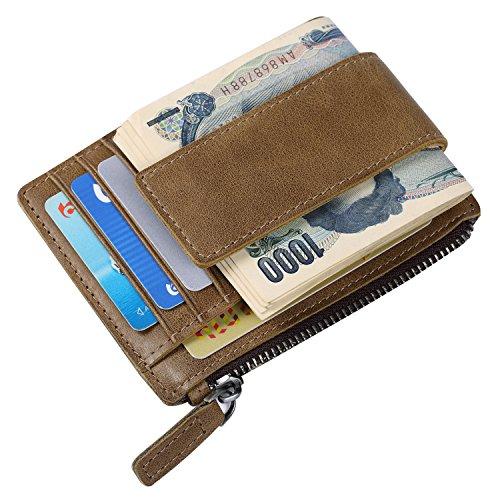 [パボジョエ]Pabojoe カード入れ カードケース 財布 メンズ 牛革 小銭入れ付き 名刺 入れ RFIDブロッキング 薄型 軽い コンパクト ホルダー ブランド 多機能 ブラウン