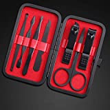 Nail Clipper Set – Black Stainless Steel Fingernails & Toenails Clippers Sharp Nail Cutter with Leather Case, Set of 7(Red)