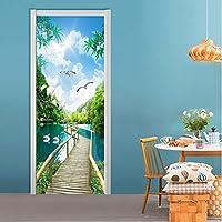 Xbwy カスタム写真の壁紙3D自然風景ウッドブリッジ壁画リビングルームの寝室のドアのステッカーDiy Pvcウォールペーパーロール-120X100Cm
