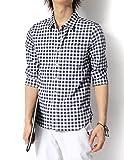 (リピード) REPIDO シャツ メンズ リネン 麻 七分袖 チェック ボーダー ギンガム Mサイズ