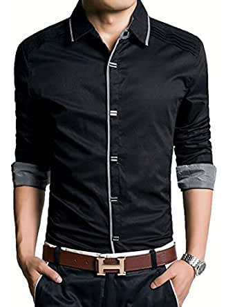 (アザブロ)AZBRO メンズ ゴージャス 純色 長袖 ボタンアップ シャツ M ブラック