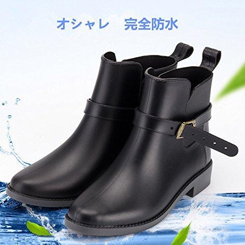 HLQtech レインブーツ レディース ロングブーツ 長靴 雨靴 軽量 完全防水 アウトドア 雪 梅雨対策 通勤 通学 おしゃれ (LL(25.5cm~26cm), ブラック ショートブーツ)