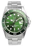 [HYAKUICHI 101] ダイバーズウォッチ 自動巻き(手巻付き) オートマチック 機械式 日付表示 200m防水 逆回転防止ベゼル 腕時計 グリーン メンズ