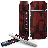 IQOS 2.4 plus 専用スキンシール COMPLETE アイコス 全面セット サイド ボタン デコ チェック・ボーダー 模様 赤 黒 003975