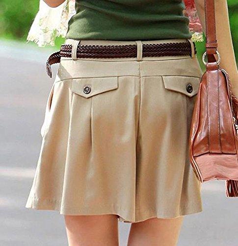 Ehame 短パン レディース ショートパンツ キュロット スカート ベルト 付き ショーパン ハーフパンツ ホットパンツ ボトムス カーキM