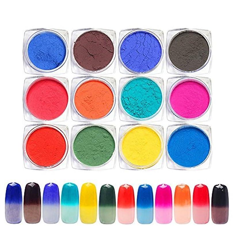 子供っぽいエール帝国主義12色セット 変色パウダー温度により色が変わりるネイルパウダーネイルアートネイルデザインネイルデコアクセサリー
