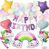 誕生日パーティー飾り ユニコーン アルミ風船 マカロンラテックスバルーン 女の子 100日お祝い 半歳 一歳 ベビーシャワー 誕生日バルーンノッター チェーン ポンプ リボン付き 113枚セット