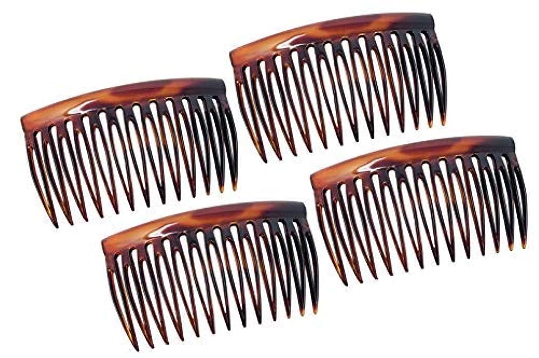 舌区画暗記するParcelona French Oval Cut 13 Teeth Tortoise Shell Celluloid Good Grip Side Hair Combs 4 Pcs [並行輸入品]