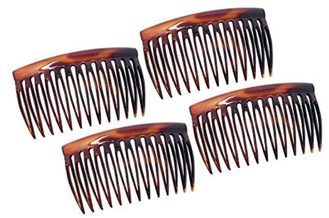 Parcelona French Oval Cut 13 Teeth Tortoise Shell Celluloid Good Grip Side Hair Combs 4 Pcs [並行輸入品]