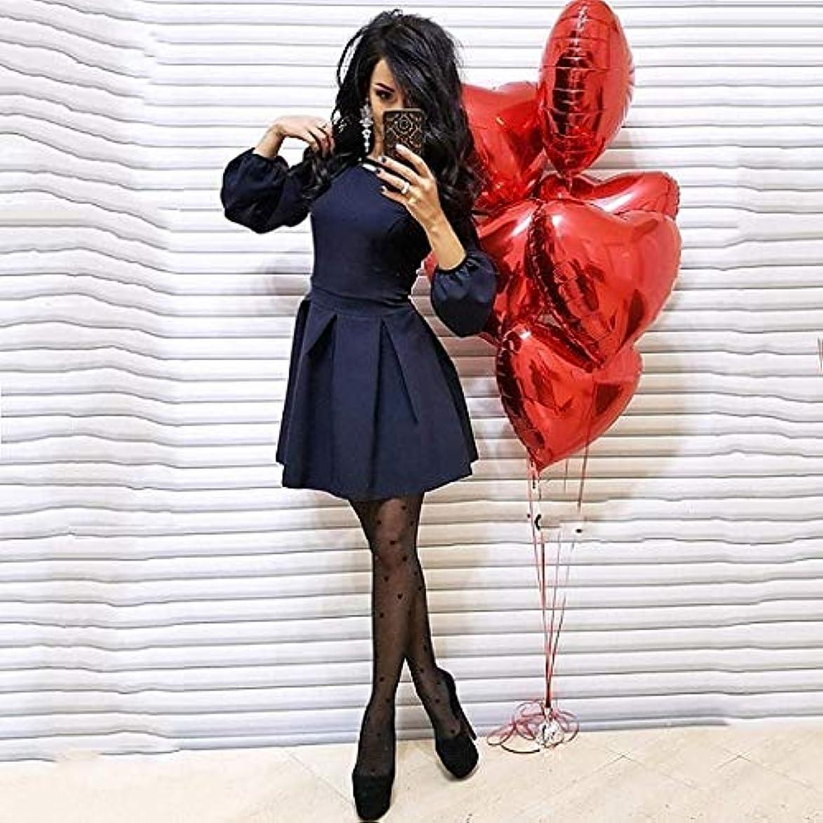 ホーン起こりやすいブラケットMaxcrestas - 秋の新エレガントな女性のドレスカジュアル長袖ドレスファッションランタンスリーブAラインミニパーティー女性Vestidos