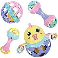 bodolo 赤ちゃん用ラトル 歯固めセット 4個セット 揺れるベル ロールボール ガラガラ おもちゃ 新生児 赤ちゃん 男の子 女の子へのギフト