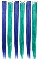 10 pcsカツラの少女の髪は、髪にストレートの髪をはさみ、女性のカツラを髪にはさみます (Blue-Lake Blue)