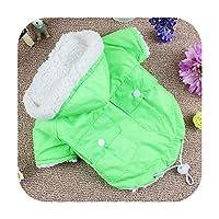 小型犬用の冬の犬服暖かいペット犬フレンチブルドッグパグ用のパーカー服冬のチワワコート20Q-Green-M