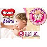 Huggies Ultimate Nappy Pants, Girls, Size 5 Walker (14-18kg), 51 Count