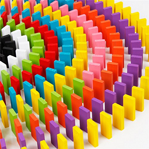 Alytimes 12色 240個 ドミノ倒し 積み木 知育玩具 天然木製 ...