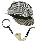 シャーロックホームズ コスプレ 小道具 セット アクセサリーキット 帽子 虫眼鏡 パイプ 探偵 仮装 変装 グッズ