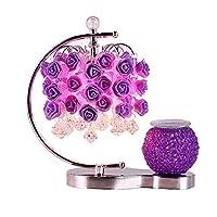 牧歌的なリビングルームの研究に適した牧歌的なバラの香りのテーブルランプのベッドサイドランプの結婚式の創造的な贈り物赤い光の明るさ11インチ (色 : Purple, サイズ さいず : #2)