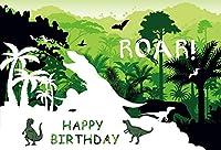 Happy Birthday 恐竜パーティー背景幕 グリーン ジャングル 森の木 カートゥーン 子供 写真撮影用背景 7×5フィート