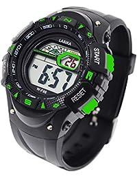 子供用腕時計 ボーイズ 多機能 デジタル表示 スポーツ アウトドア 時計 LEDライト付き ウォッチ キッズ 防水 男の子女の子 誕生日プレゼント グリーン
