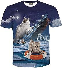 (ピゾフ)Pizoff メンズ Tシャツ 半袖 猫柄 おもしろ 3DプリントトップスY1625-79-XL
