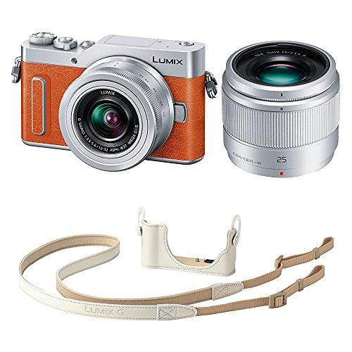 Panasonic ミラーレス一眼カメラ ルミックス GF90 ダブルレンズキット オレンジ DC-GF90W-D + ボディケースストラップキット ホワイト DMW-BCSK8-W セット