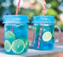 Blossom Mason and Canning Jar Sipping and Drinking Lid Caps, Silicone, For Wide Mouth Size Mason Jars, 4-Inches Blue Set of 4 by Spice Ratchet