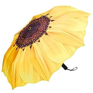 PLEMO 折り畳み傘 自動開閉折りたたみ傘 頑丈な8本骨 耐強風 梅雨対策 軽量 撥水性 収納ケース付 おしゃれ (イエロー)