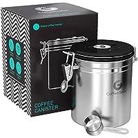 コーヒーキャニスター 1300ml(シルバー)保存容器 ステンレス製 密封バルブ・日付表示ダイヤル・計量さじ付