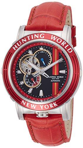 [ハンティングワールド]HUNTING WORLD 腕時計 アディショナルタイム 自動巻き レザー レッド文字盤 5気圧防水 HW993RD メンズ 【正規輸入品】