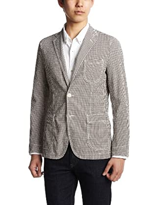 Seersucker Gingham Jacket 3122-139-0258: Brown
