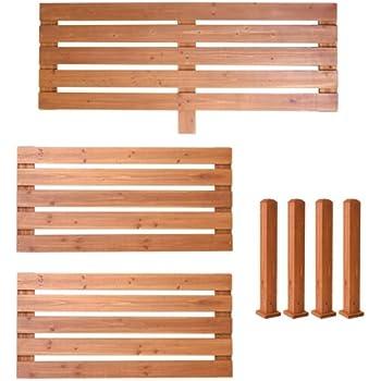 ユニット式デッキ縁台専用 フェンス取付キット(支柱付) L1枚&S2枚タイプ 杉天然木 JYUDST-FL1S2