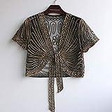 2018 new High quality Fashion Women Clothing Wild Perspective Small Shawl Chiffon Lace Gauze Lacing Boleros 802E 30 black apricot XXL