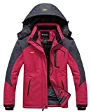 WantDo 防水性ハードシェル レディース アウトドアジャケット スキーウェア 裏ボアフリース 防寒防風対策