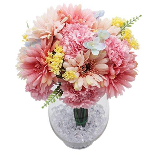 Lumiphire 造花セット ガラス花瓶付 置物 インテリア おしゃれ 春の飾り 可愛い 雑貨 飾り物 小物 リビング 玄関 ダインイング 人気 プレゼント 女性 誕生日 バレンタインデー ホワイトデー ギフト 花束 ミニブーケ アーティフィシャルフラワー ガーベラ カーネーション 全体高さ30cm ピンク