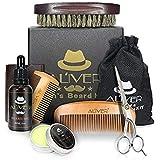 Aliver Beard Grooming & Trimming Kit for Men Beard Growth Gift Set,Beard Conditioner Oil+Beard Balm+ Moustache & Beard Comb K