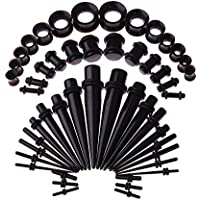LLflow 50 Pieces Silicone Ear Stretching Kit Acrylic Tapers and Plugs Silicone Tunnels Ear Gauges Expander Set Body Piercing Jewelry(One Size Black)