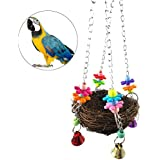 ROSENICE Bird Nest Natural Rattan Swing Toy with Bells for Budgie Parakeet Cockatiel