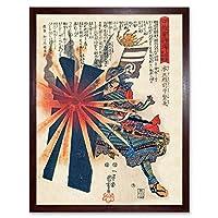 Kuniyoshi Samurai Shigenaga Parrying Exploding Shell Painting Art Print Framed Poster Wall Decor 12x16 inch ペインティングポスター壁デコ