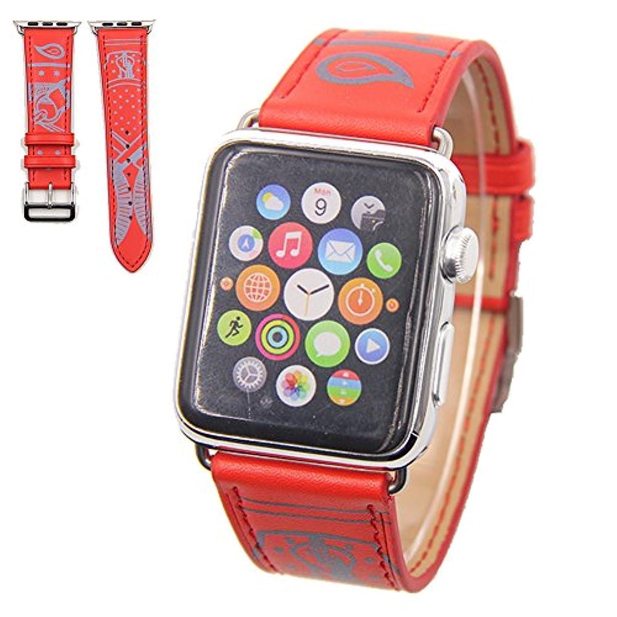 気づかない事業内容調整可能Vicstar Apple watch Series 3 42mm ベルト 交換バンド Apple watch 3 ベルト 高級レザー 本革バンド 金属クラスプ付き 上品 柔らか ビジネス風 脱着簡単 レッド