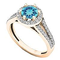 14K ローズゴールド 5.6mm ラウンド ジェムストーン&ホワイトダイヤモンド レディース ブライダル 婚約指輪