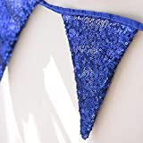 (Dark Blue) - Ling's Moment Double Sided Dark Blue Sequin Banner Triangle Flag Fabric Bunting Pennant Banner Outdoor Garland Wedding Party Decor Baby Room Kids Teepee Decor 9 Flags, Pack of 1