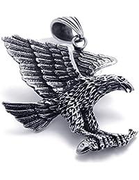 [テメゴ ジュエリー]TEMEGO Jewelry メンズステンレススチールヴィンテージペンダントゴシック3Dイーグルネックレス、ブラックシルバー[インポート]