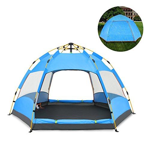 QZT テントワンタッチ 3~4人用 ドームテント折りたたみ 簡易テント 軽量 uvカット 紫外線 メッシュ 防水 キャンプ アウトドア レジャー バーベキュー 海 (青)
