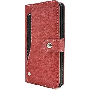 PLATA iPhone7 Plus / iPhone8 Plus ケース 手帳型 スライド カード ポケット ソフト レザー カバー IP7P-6217RD