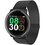 Smart Watch, UMIDIGI Uwatch2 Bluetooth Smartwatch for Men Women Kids Compatible Android iOS, IP67 Waterproof, Fitness Activity Tracker with Heart Rate Monitor & Blood Pressure Monitor(2 Bands) (Black)