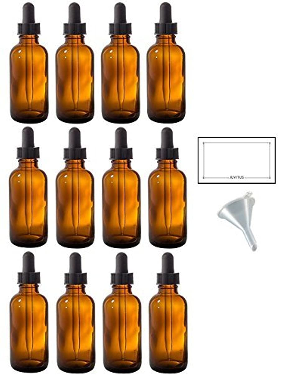 不名誉な許さないパイロット2 oz Amber Glass Boston Round Dropper Bottle (12 pack) + Funnel and Labels for essential oils, aromatherapy, e-liquid...