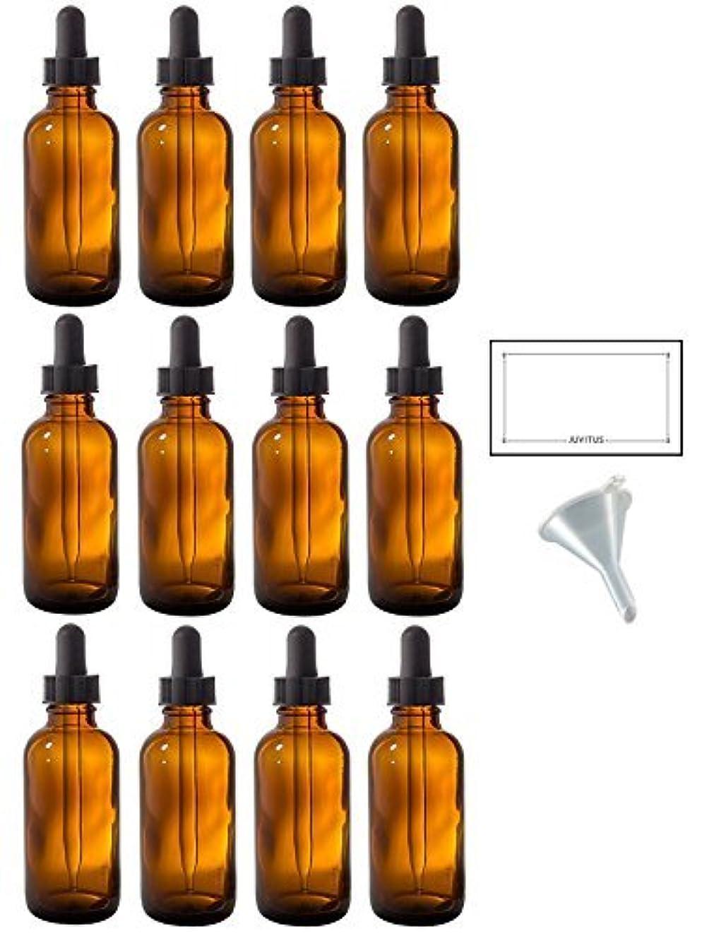 ダイヤル体操選手セマフォ2 oz Amber Glass Boston Round Dropper Bottle (12 pack) + Funnel and Labels for essential oils, aromatherapy, e-liquid...